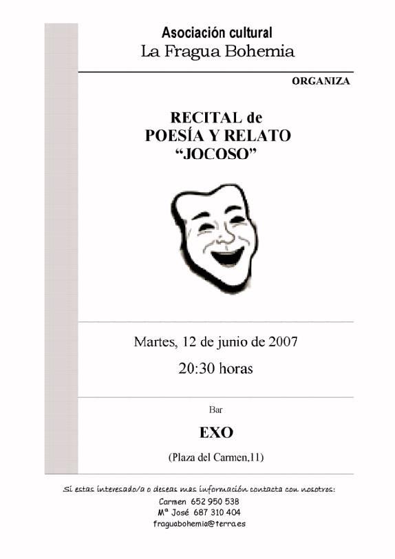 Recital de Poesía y Relato JOCOSO
