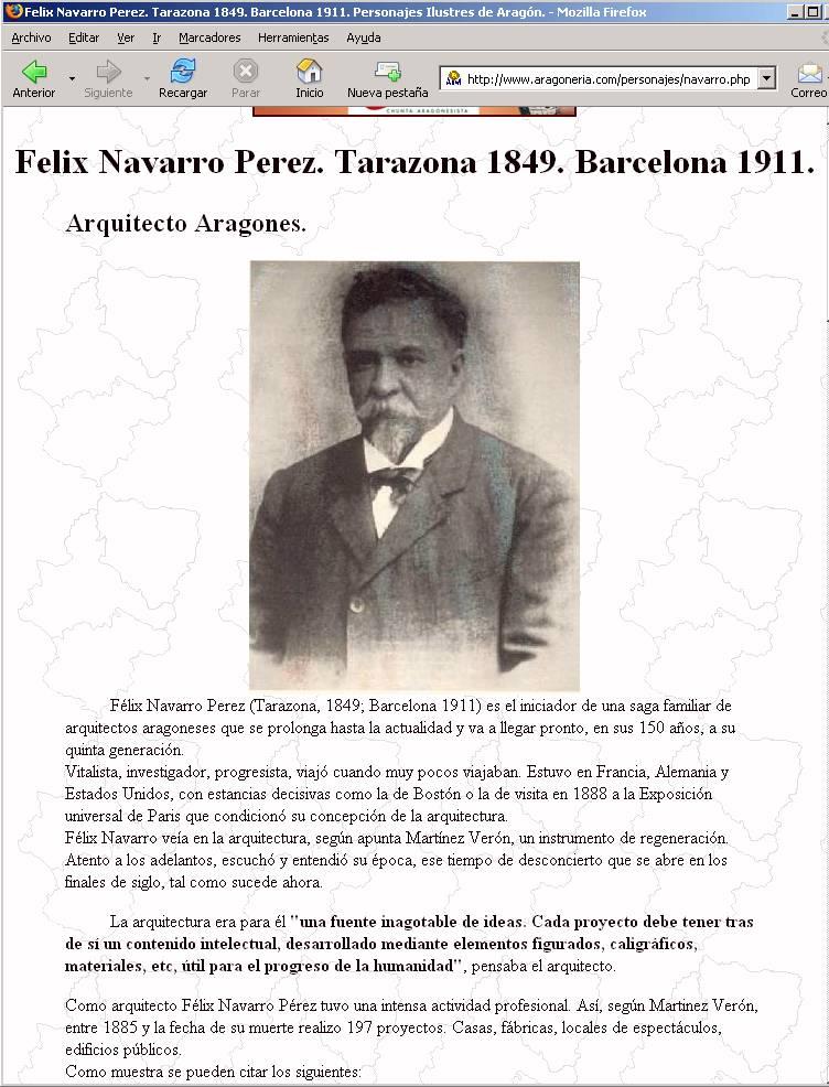 Pagina inicial sobre Felix Navarro de Aragón.